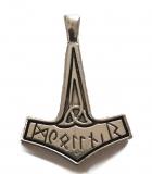 Thors Hammer mit Runen (Kettenanhänger in Silber)
