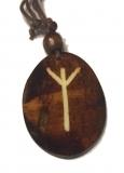 Algiz Rune - Kettenanhänger aus Knochen (braun)